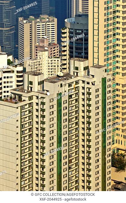 High-rising residential buildings in Central District, Hong Kong Island, Hong Kong