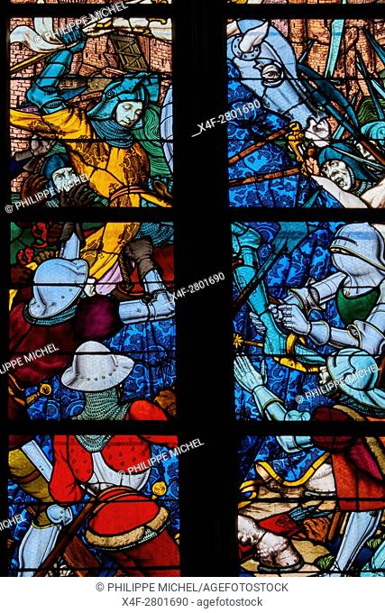 France, Loiret, Orleans, Sainte-Croix cathedral, Jeanne d'Arc stained glass window