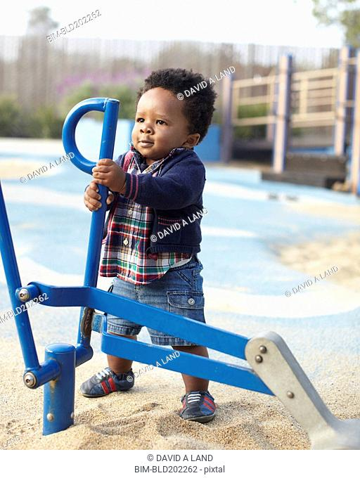 African American baby playing in park