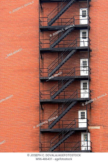 Fire escape doors brick building