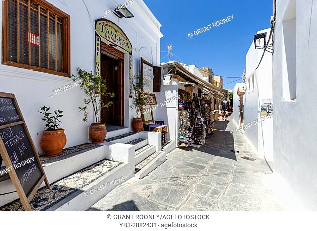 Restaurant and Shops In Lindos, Rhodes, Greece