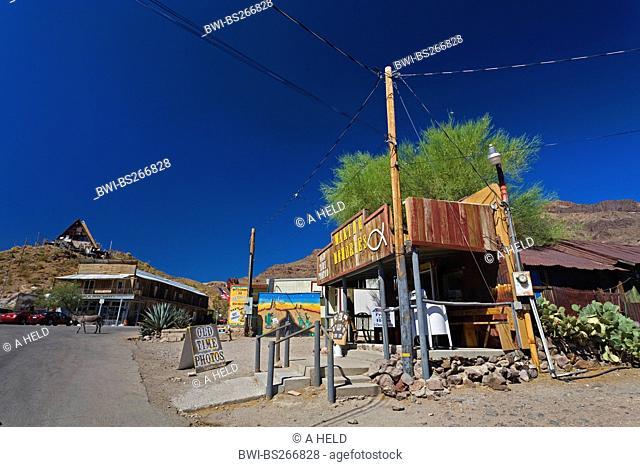 street in gold mining town Oatman beside historic Route 66, USA, Arizona, Oatman