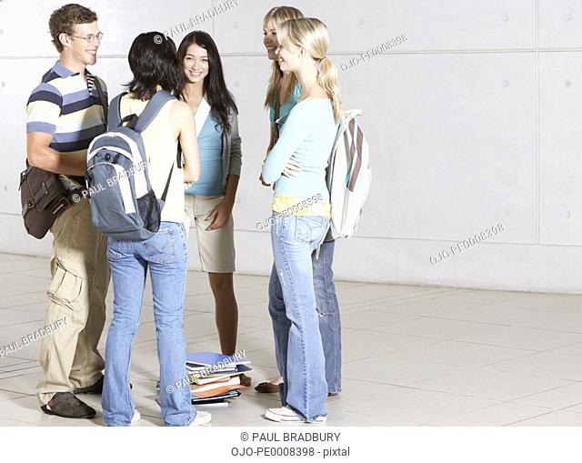 Group of high school students at school