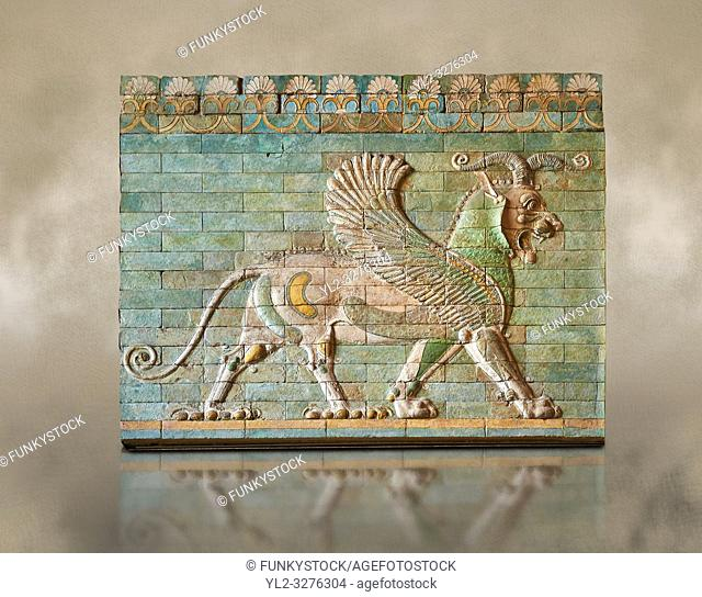 Coloured glazed terracotta tiled panels depicting mythical Griffins. From the reign of Darius 1st and the First Persian or Achaemenid Empire around 510 BC...