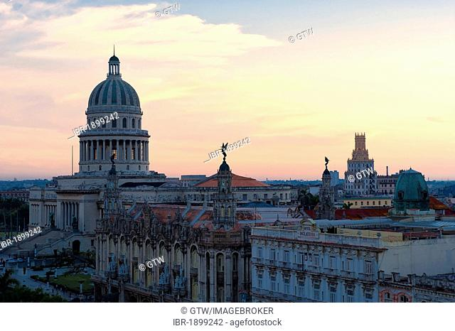 Capitolio Nacional, National Capitol, and Gran Teatro theatre, dusk, Old Havana, Unesco World Heritage Site, Cuba