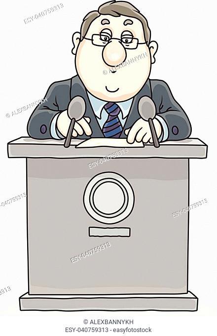 Vector illustration of a speaker standing behind a rostrum