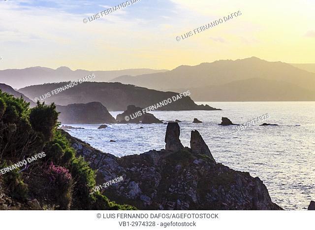 Sunset at the Loiba cliffs (Acantilados de Loiba) Coruña province, Galicia, Spain, Europe