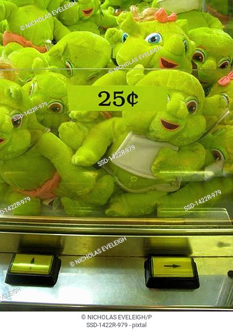 Green toys inside a carnival game