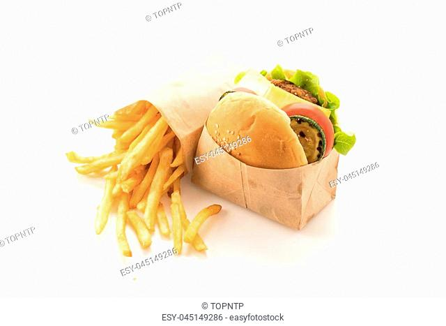 Beef burger with french fries on white background