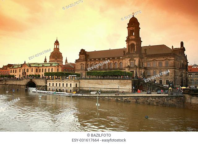 flood in Dresden 2013 Embankment of the Elbe river, Academy of Fine Arts and Frauenkir