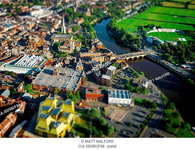 Aerial view River Severn, Worcester, England, UK