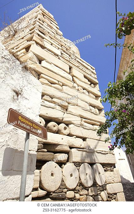 View to the facade of Frankish Castle in Parikia town, Paros, Cyclades Islands, Greek Islands, Greece, Europe