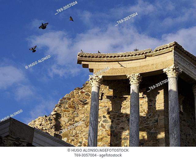 The Roman Theatre of Mérida. Emerita Augusta, capital of Lusitania, current Mérida, Badajoz, Extremadura, Spain, Europe