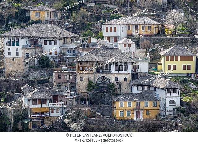 Traditional, ottoman period, stone roofed, houses in the old town of Gjirokastra in southern Albania