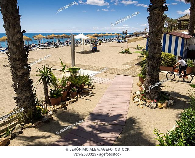 Casablanca beach. Marbella, Malaga province, Costa del Sol, Andalusia, Spain Europe