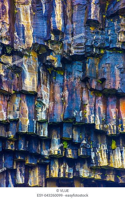 Skaftafell Basalt columns photographed in Iceland