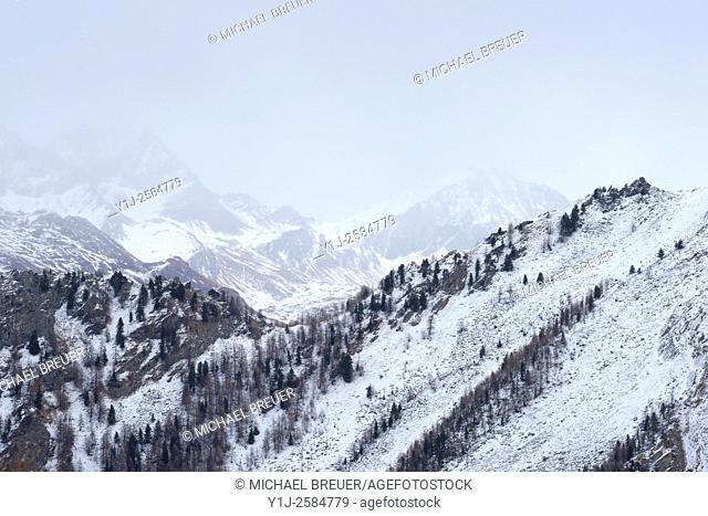 Landscape in Winter, Gran Paradiso National Park, Alps, Italy, Europe