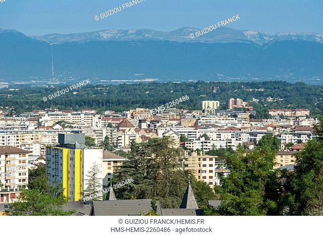 France, Haute Savoie, Annemasse, panoramic view over the city and the Haute Chaine du Jura Nature Reserve in the background