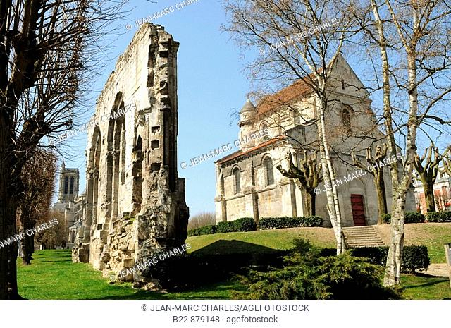 Remains of the ancient Romanesque church of Saint Pierre in Place Saint-Pierre, Soissons. Aisne, Picardy, France