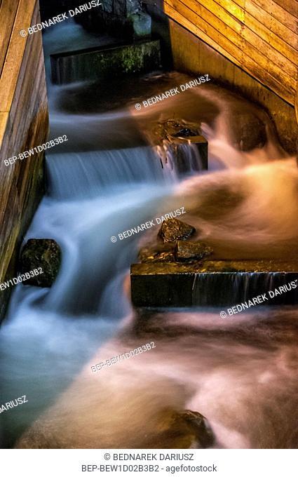 Water cascade at the marina. Bydgoszcz, Kuyavian-Pomeranian Voivodeship, Poland