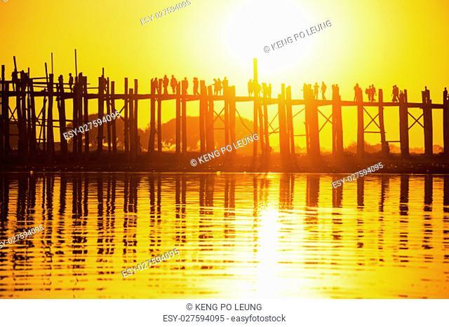 U bein bridge at sunset, Myanmar landmark in mandalay