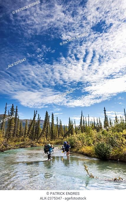 Hikers wade across a drainage of the Alatna river, Gates of the Arctic National Park, Alaska