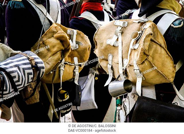 French soldiers with cowhide backpacks. Napoleonic wars, 19th century. Historical reenactment