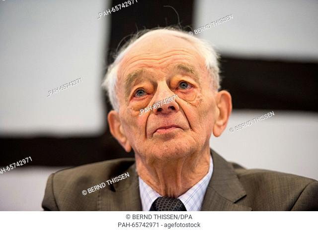 Auschwitz concentration camp survivor JustinSonder attends a press conference inDetmold, Germany, 10 February 2016. The trial against a former SS guard at...