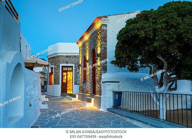 Sunset in Chora village of Kythnos island in Greece.