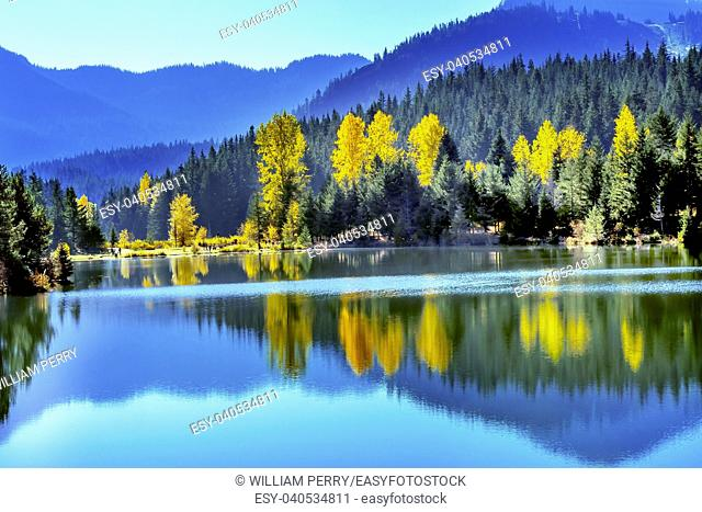 Blue Water Yellow Trees Reflection Gold Lake Autumn Fall Snoqualme Pass Wenatchee National Forest Wilderness Washington