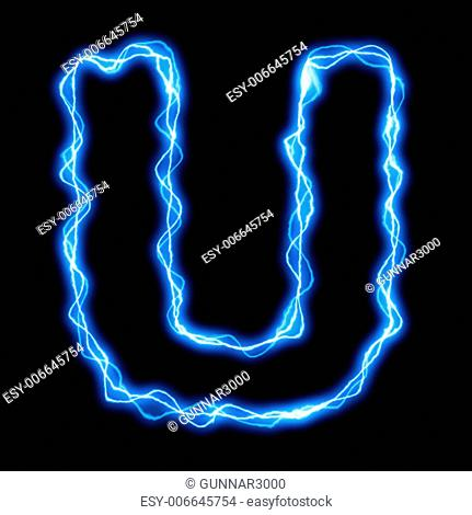 electric lightning or flash font with blue letters on black