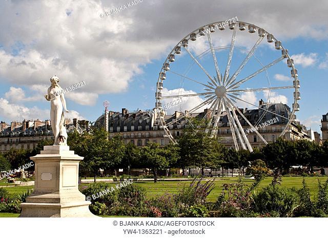 Nymphe, by Louis Auguste Lévêque and Ferris Wheel, Jardin des Tuileries, Paris, France