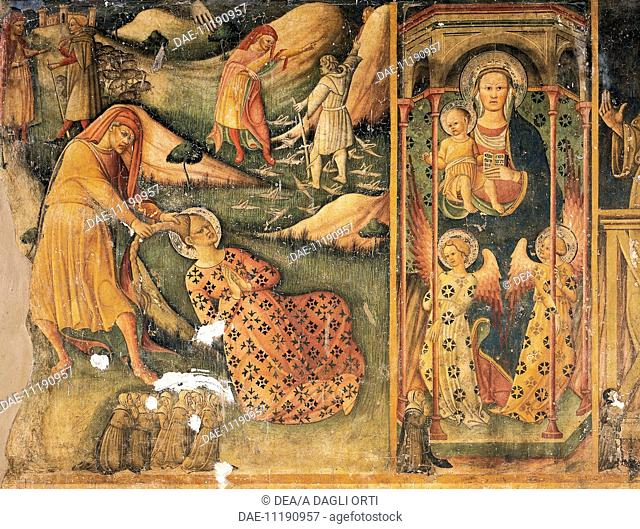 Martyrdom of St Barbara and the Madonna of Loreto, detail from the stories of St Barbara, Our Lady of Loreto and St Anthony, 1449