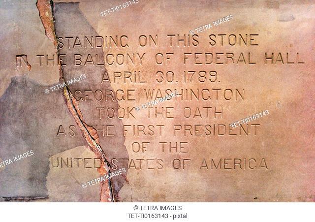Memorial stone at Federal Hall
