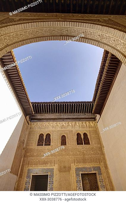 Patio of Mexuar in the Nasrid palace, Alhambra complex, Granada, Andalusia, Spain