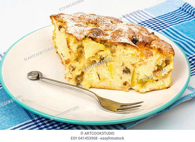 Piece of delicious apple pie with cinnamon. Studio Photo
