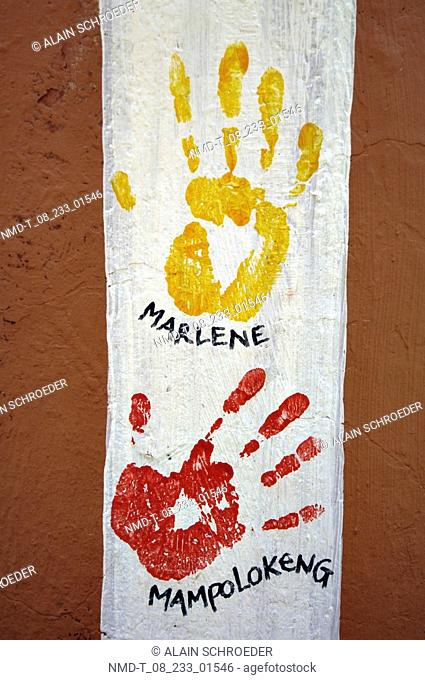 Close-up of human handprints on a wall, Rusters Valley, Free State Province, South Africa