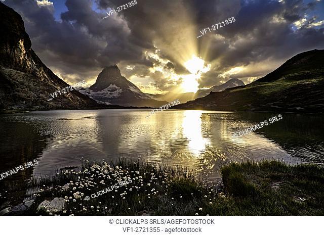 Matterhorn at sunset, Riffelsee lake, Switzerland