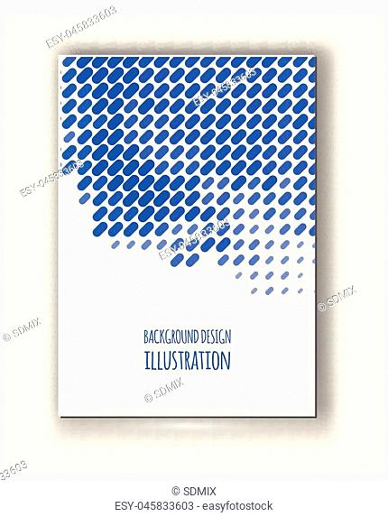 Halftones Banner. Blue color Brochure. Distress Dirty Damaged Spotted rectangle Overlay Dots Texture . Grunge Effect