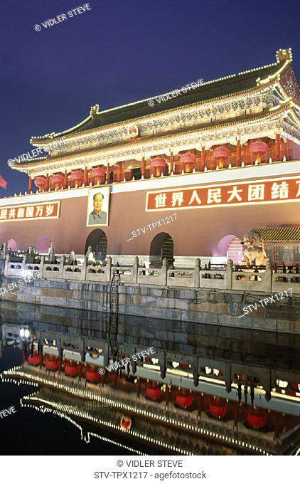Asia, Beijing, Peking, China, Gate, Holiday, Landmark, Nightview, Tiananmen, Tiananmen square, Tourism, Travel, Vacation