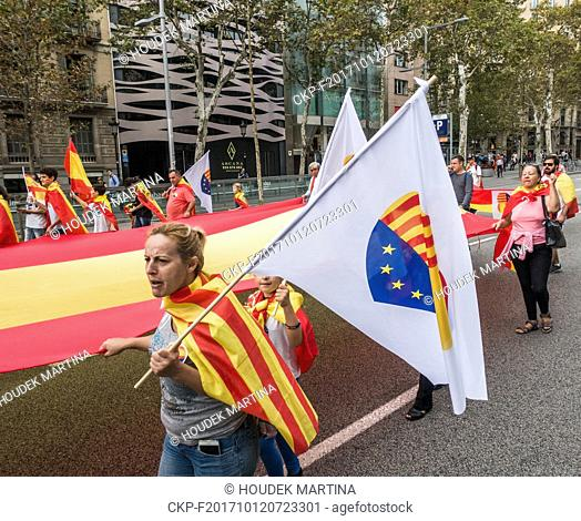 Tens of Thousand of 'Unite Spain' demonstrators waving Spanish flags and Catalan Flags during the protest against Catalonia independence movement in Barcelona