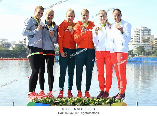 L-R: Silver medalists Franziska Weber and Tina Dietze of Germany, Gold medalists Gabriella Szabo and Danuta Kozak of Hungary and Bronze medalists Karolina Naja...