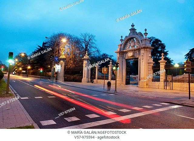 Alfonso XII street and The Retiro park entrance, night view. Madrid, Spain