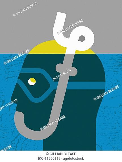 Man with head under water using British pound sign snorkel