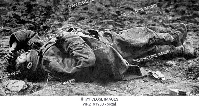 This photo starkly depicts the horror of war. The dead soldier was a young Austrian fighting for the Central Powers