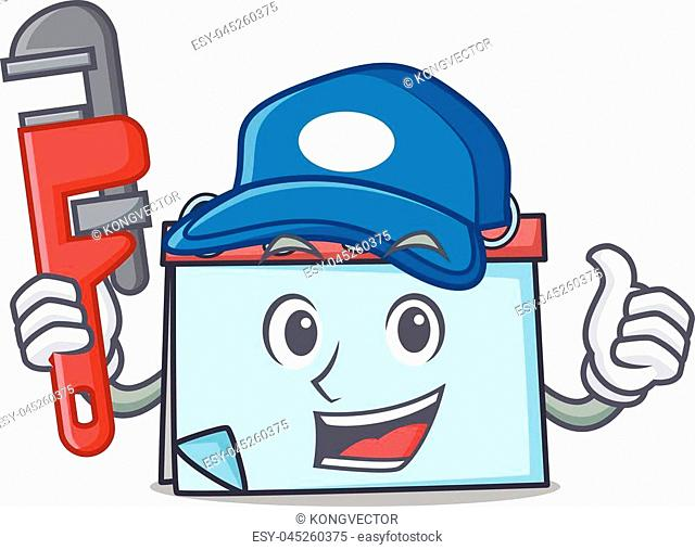 Plumber calendar mascot cartoon style vector illustration