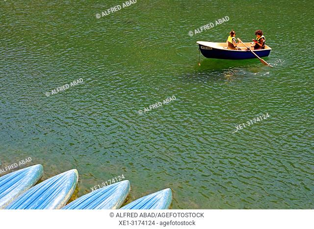 boat on the lake, Vall de Nuria, Girona, Catalonia, Spain
