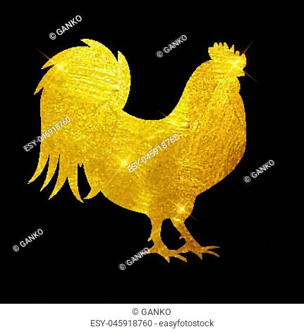 Vector Illustration of Godlen Fire Rooster, Symbol of 2017 Year on the Chinese Calendar. EPS10
