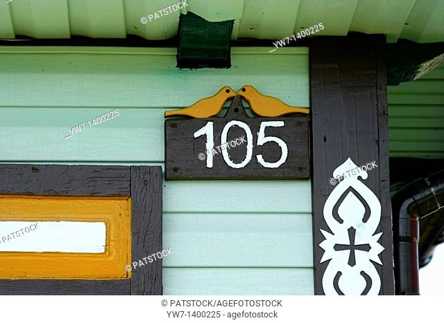 Traditional architecture of wooden houses in area named 'Kraina Otwartych Okiennic'- 'A country of open shutters' in Soce village, Poland