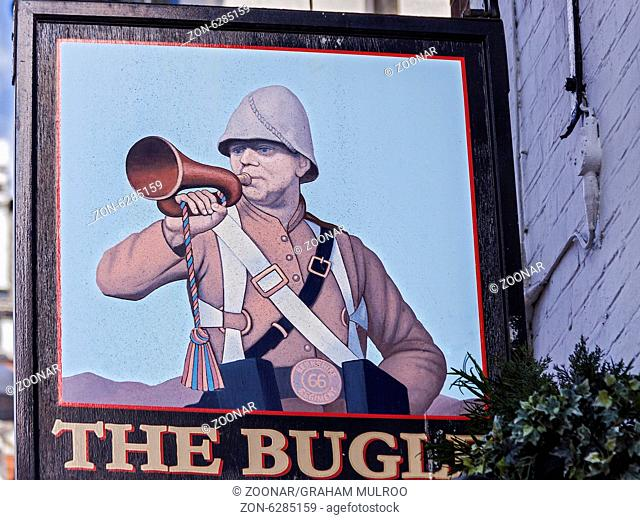 Bugle Pub Sign Reading Berkshire UK
